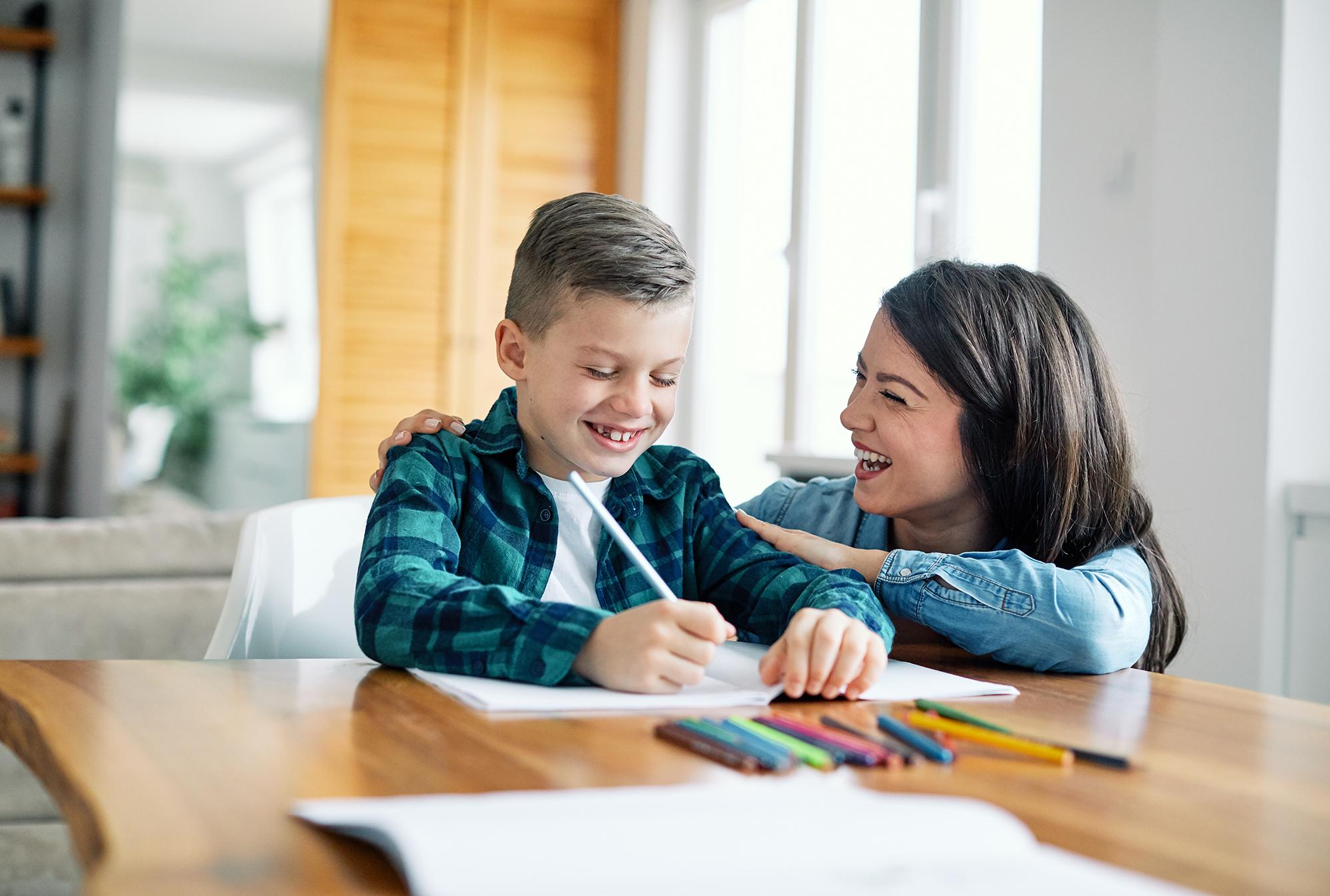 homework teaching education mother children son familiy childhoo